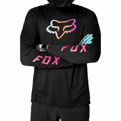 Fox Defend hosszú ujjas mez fekete-színes logóval - RideShop.hu