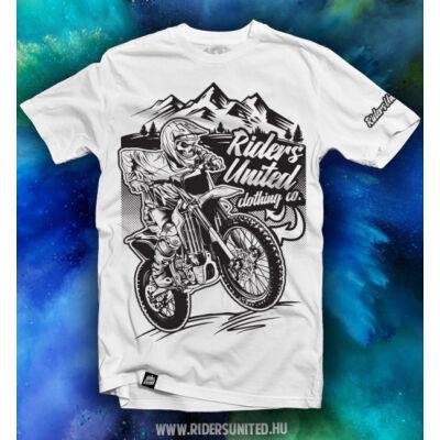 Riders United MotoSkullWB rövid ujjas póló fehér - RideShop.hu